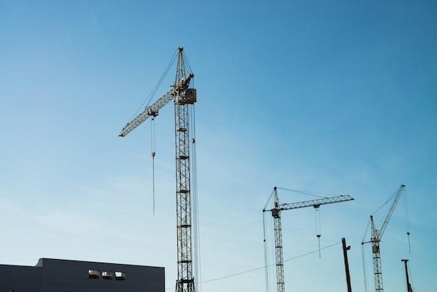 Grandi gru a torre sopra gli edifici in costruzione contro il cielo blu.