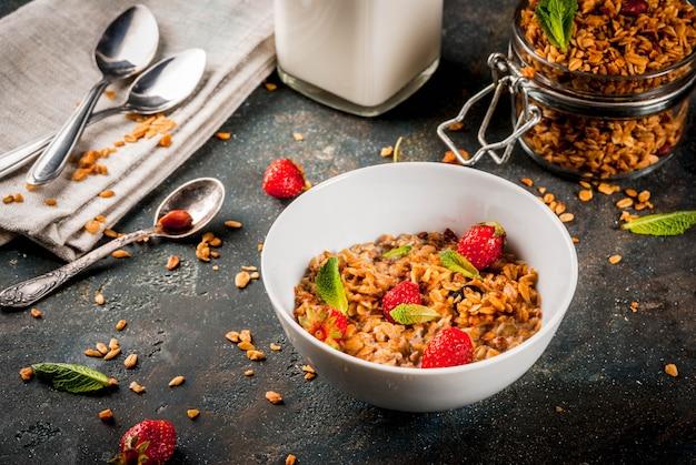 Granola fatta in casa dal mix di cereali con fragole