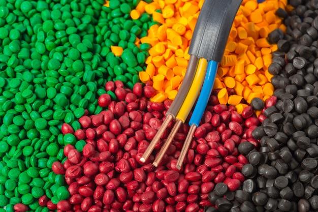 Granuli in polimero plastico colorato per cavo