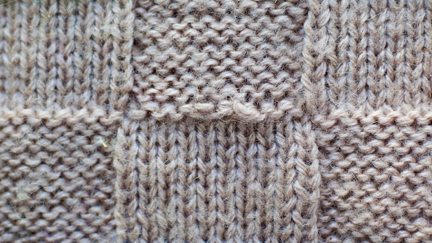 Grigio di filato tricottato, primo piano del tessuto tricottato modello di struttura