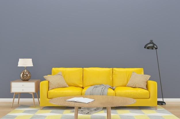 Grigio muro giallo divano sfondo interno pavimento in legno