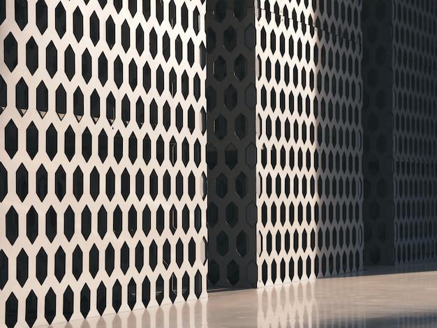 Griglia architettonica della facciata della costruzione del metallo bianco, struttura del fondo