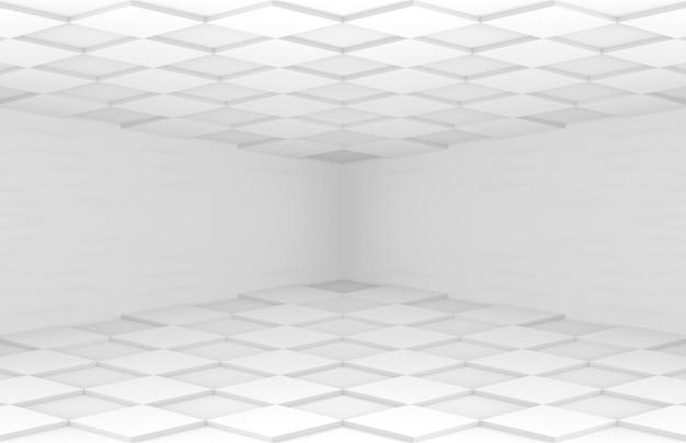 Griglia quadrata bianca pavimento piastrellato e soffitto camera angolare parete