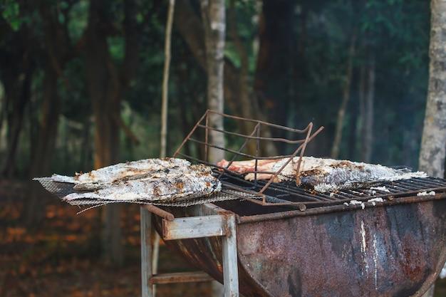 Grigliare i pesci sul fuoco a frammentazione