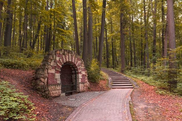 Grotta nel parco di una griglia chiusa. sentiero nel bosco