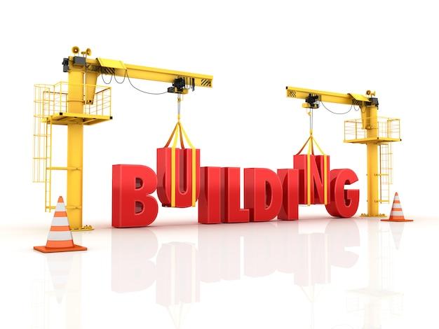 Gru che costruiscono la parola edilizia