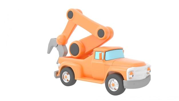 Gru del camion del giocattolo isolata sopra backgroung bianco