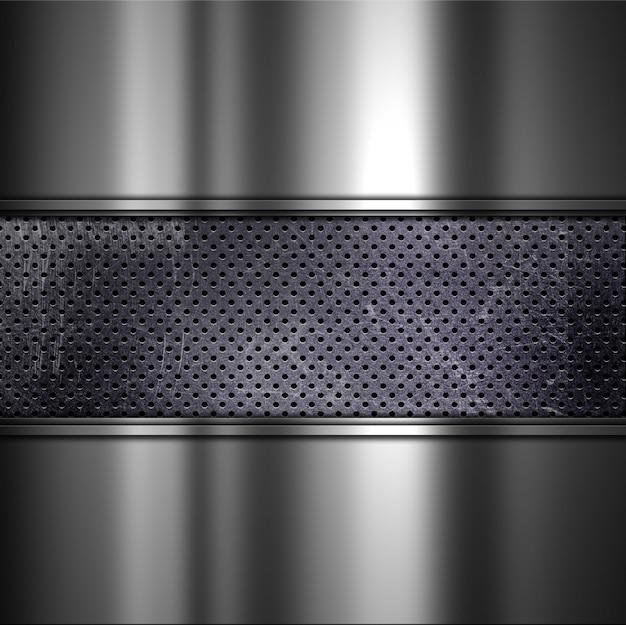 Grunge sfondo con texture di metallo sporco perforata e alluminio spazzolato