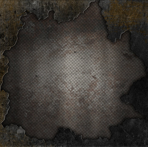 Grunge stile di metallo arrugginito e lo sfondo di pietra
