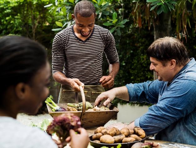 Gruppo di amici diversi con verdura biologica fresca di fattoria