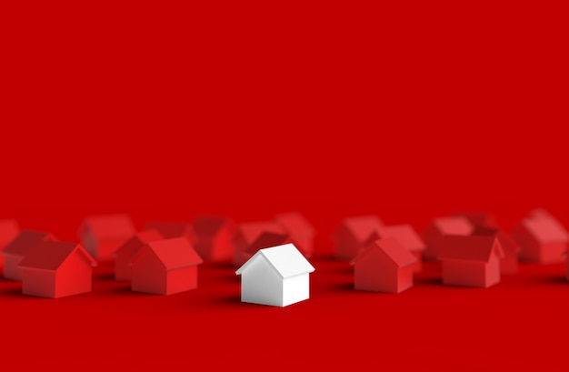 Gruppo di casa offuscata isolato su sfondo rosso. illustrazione 3d.