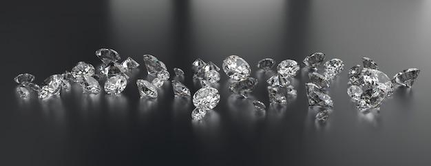 Gruppo di diamanti posizionato su sfondo scuro