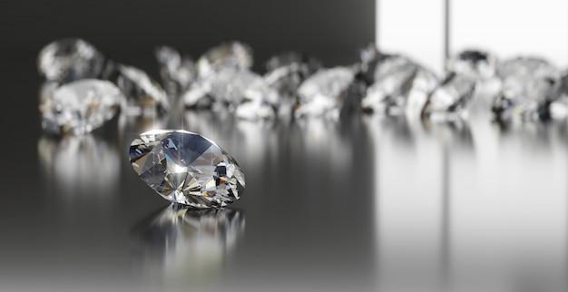 Gruppo di diamanti posto su lucido