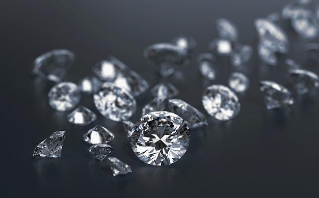 Gruppo di diamanti posto su sfondo nero