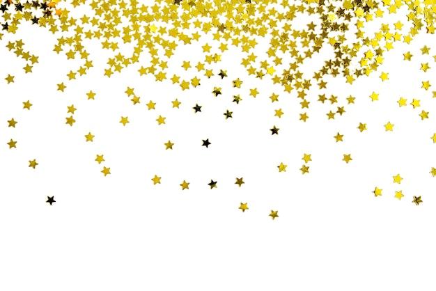 Gruppo di felice anno nuovo di natale della decorazione della stella dell'oro isolato su fondo bianco