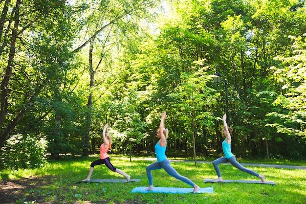 Gruppo di forma fisica che fa yoga in parco un giorno soleggiato