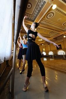 Gruppo di giovani ballerini professionisti svegli nella classe di balletto