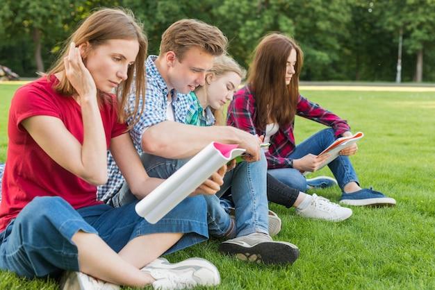Gruppo di giovani studenti che imparano nel parco