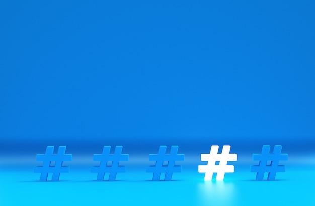 Gruppo di icona hashtag isolato su blu