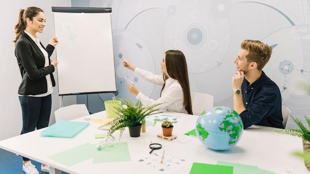 Gruppo di persone di affari che discutono sul risparmio energetico durante la riunione d'affari