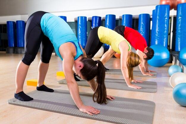 Gruppo di persone di esercizio di stretching di pilates the dog