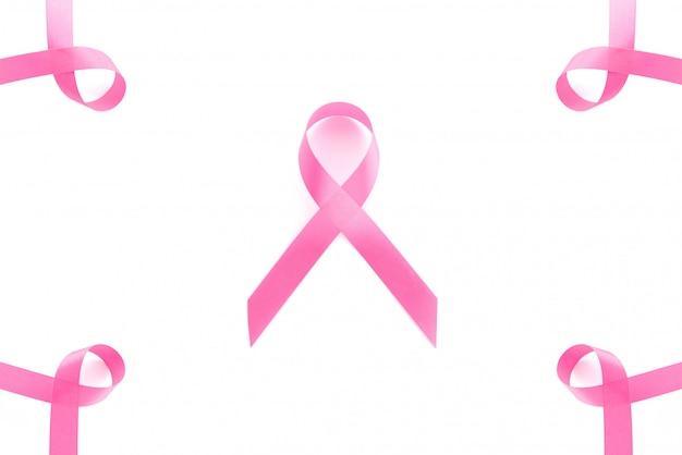 Gruppo di simboli di nastro di raso rosa, campagna di sensibilizzazione sul cancro al seno