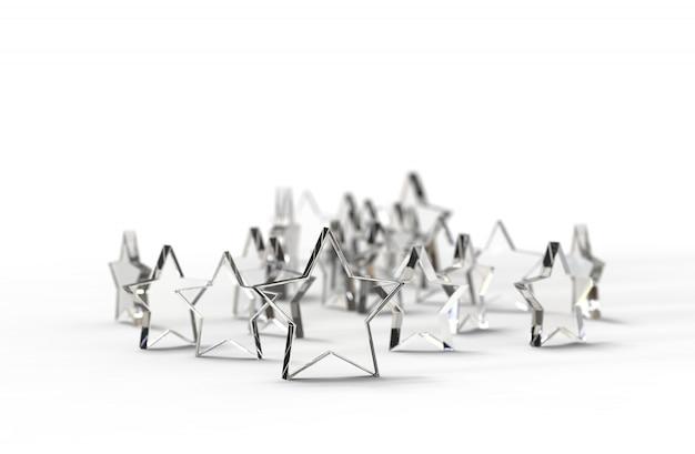 Gruppo di stelle di vetro isolato su sfondo bianco