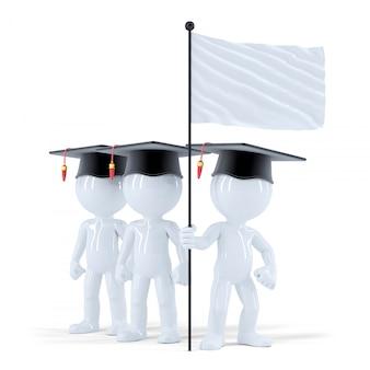Gruppo di studenti con bandiera bianca. isolato. contiene il tracciato di ritaglio