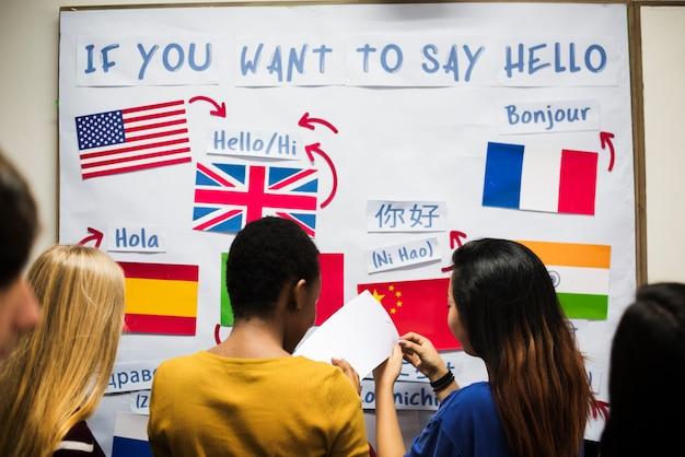 Gruppo di studenti in visualizzazione di lingue