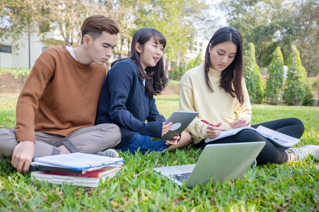 Gruppo di studenti universitari asiatici seduti sull'erba verde lavorando e leggendo insieme all'esterno in un parco