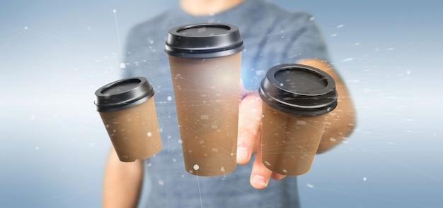Gruppo di tazza di caffè della scatola di cartone con la rappresentazione della connessione 3d