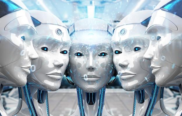 Gruppo di teste di robot femminili che creano connessione digitale