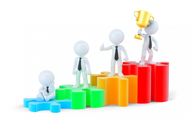 Gruppo di uomini d'affari in piedi sul grafico. concetto di affari. isolato. contiene il tracciato di ritaglio