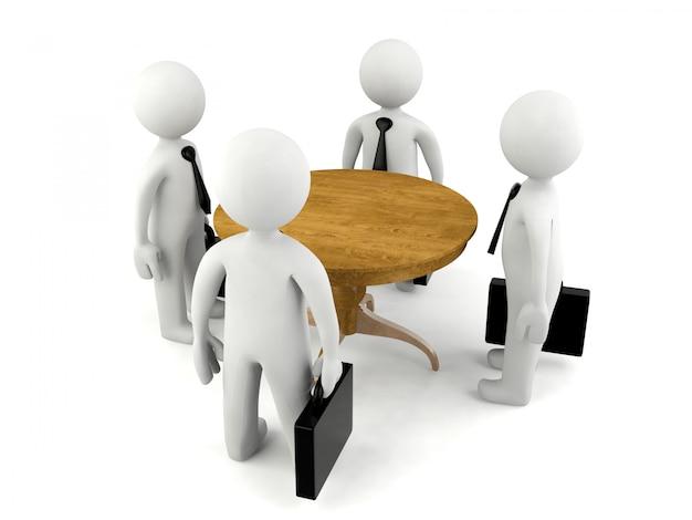 Gruppo di uomo 3d che ha riunione d'affari