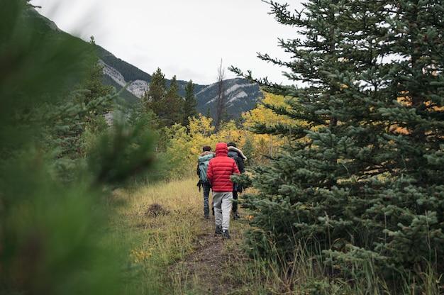 Gruppo di viaggiatori che camminano allo stato brado in autunno