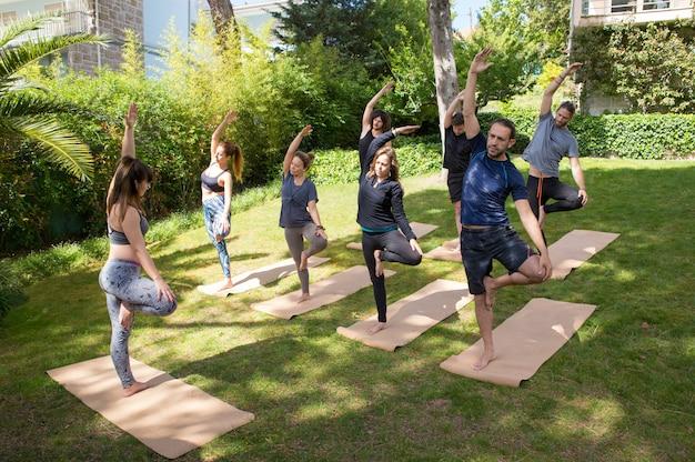 Gruppo di yoga che gode di allenamento all'aperto
