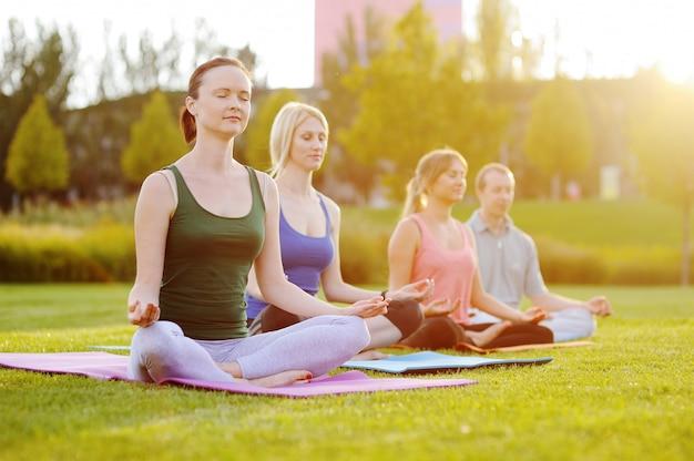 Gruppo di yoga sullo sfondo di erba verde
