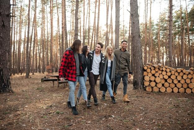 Gruppo felice di amici che camminano all'aperto nella foresta.