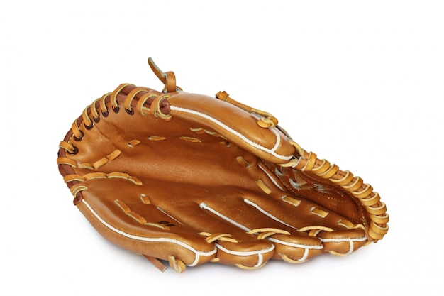 Guanto vuoto del collettore di baseball isolato su bianco