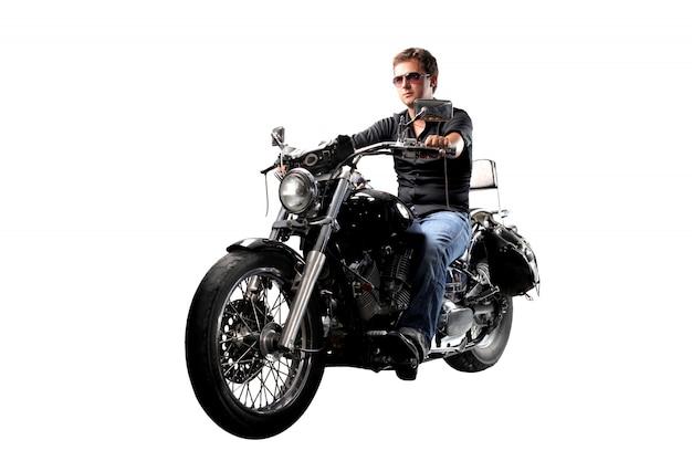 Guida elegante motociclista