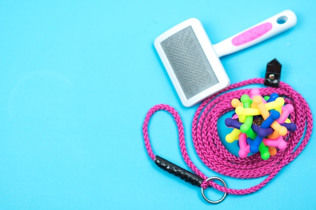 Guinzaglio dell'animale domestico con il giocattolo di gomma su fondo blu