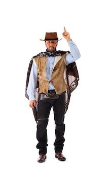 Gunman nel vecchio selvaggio west su bianco