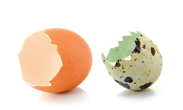 Guscio d'uovo rotto isolato su spazio bianco