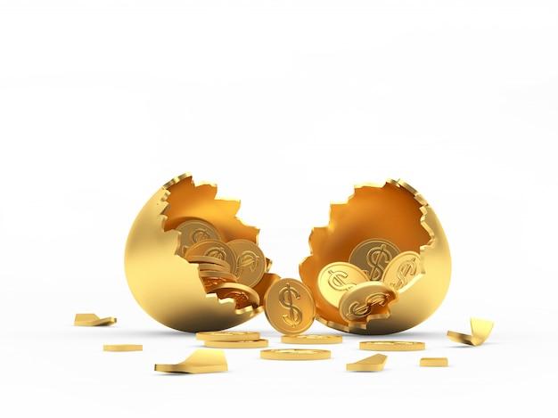 Guscio d'uovo rotto oro pieno di monete