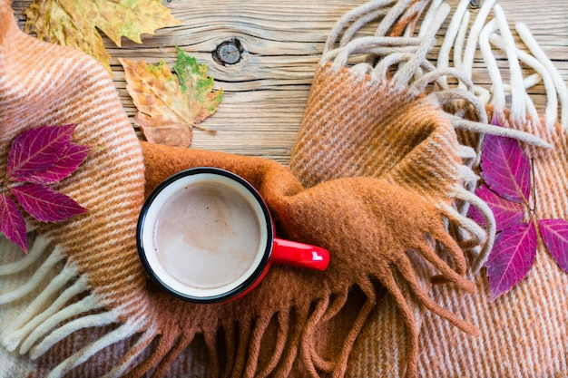 Gustosi cioccolata calda, plaid e foglie di autunno.
