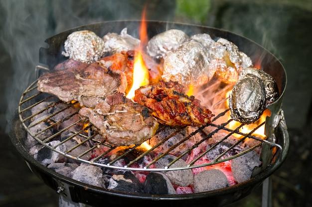 Gustoso carne di carne fresca appetitosa sulla griglia cuocere su fuoco aperto sulla griglia del grill. sfondo della natura. avvicinamento.