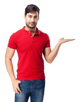 Guy con la mano aperta su sfondo bianco