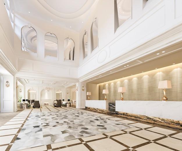 Hall e ufficio classico della reception dell'hotel di lusso con scaffale decorativo