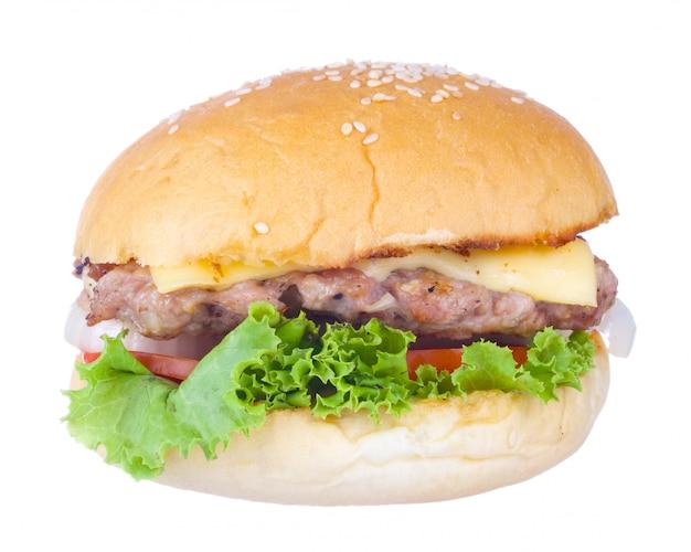 Hamburger del formaggio della carne di maiale isolato