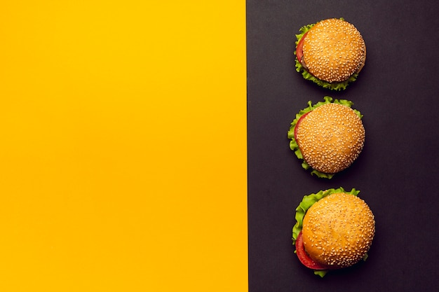 Hamburger piatti con spazio per copiare